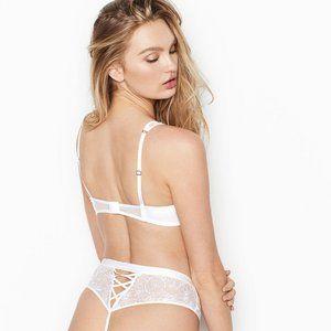 VS Embroidered High Waist Thong Panty White